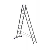 Лестница двухсекционная 2x11 ступеней Алюмет 5211 серия H2