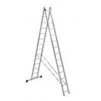 Лестница двухсекционная 2x14 ступеней Алюмет 5214 серия H2