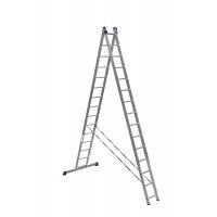 Лестница двухсекционная усиленная (2x15ст.) Алюмет 6215 серия HS2