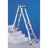 Алюминиевая телескопическая лестница-стремянка SCALISSIMA 8+8 ступеней