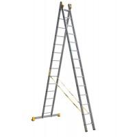Универсальная двухсекционная алюминиевая лестница серии P2 2x14 ступеней 9214