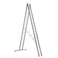 Универсальная двухсекционная алюминиевая лестница серии P2 2x18 ступеней 9218