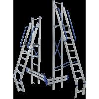 Складская стремянка с алюминиевой платформой серии TOR 9 ступеней