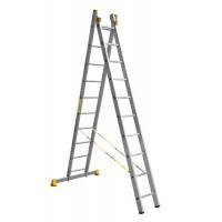 Универсальная двухсекционная алюминиевая лестница серии P2 2x10 ступеней 9210