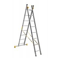 Универсальная двухсекционная алюминиевая лестница серии P2 2x8 ступеней 9208