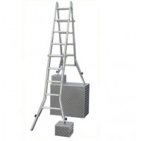 Шарнирная телескопическая лестница с удлинителями боковин (123589 4x4) серии Stabilo